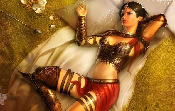 Картинка девушка, цветы, город, комната, игра, доспехи, подушки, Фара, лук, лучница, фэнтези, красавица, Prince of Persia: ...