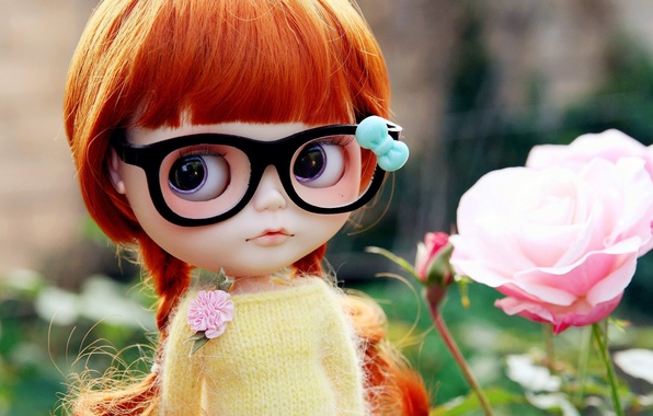 Картинка игрушка, роза, кукла, очки, косички, рыжая