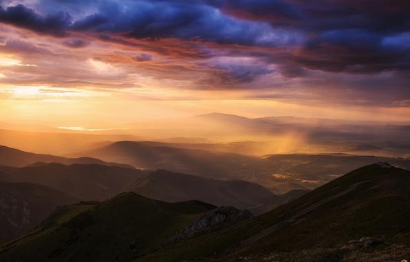 Картинка небо, облака, свет, горы, дождь, долина, Карпаты, Татры
