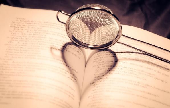 Картинка сердце, тень, книга, страницы, ситечко