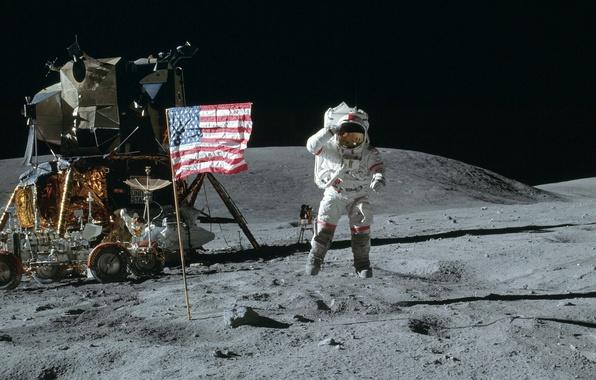 Картинка космос, прыжок, обои, луна, флаг, Космонавт, америка, сша, лунный модуль, американец, Луноход