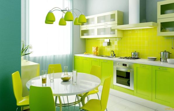 Картинка свет, цветы, зеленый, стиль, стол, обои, лампа, интерьер, окно, кухня, ваза