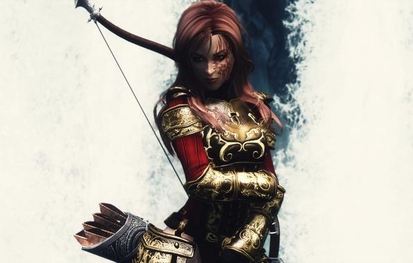 Картинка девушка, игра, доспехи, белый фон, броня, стрелы, Skyrim, The Elder Scrolls V, Скайрим