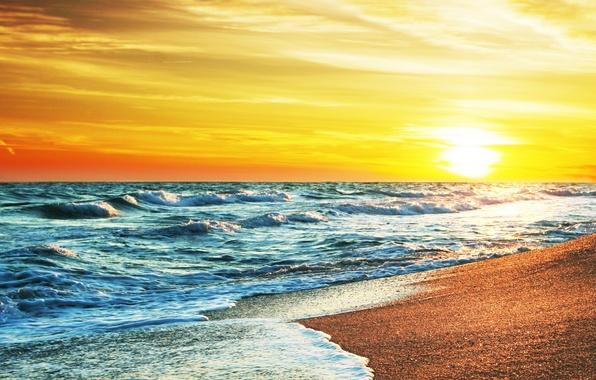 Картинка песок, море, пляж, небо, солнце, закат, берег, summer, beach, sea, sunset