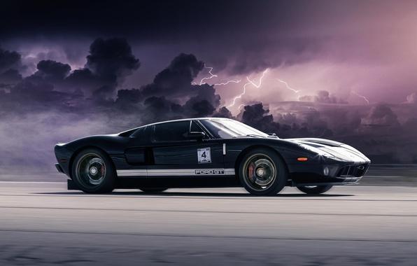 Картинка Ford, Авто, Скорость, Тучи, Молнии, Car, Clouds, Speed, Lightning