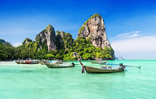 Картинка море, деревья, скалы, побережье, лодки, trees, coast, rocks, boats, the sea, Tropical Paradise, Тропический Рай