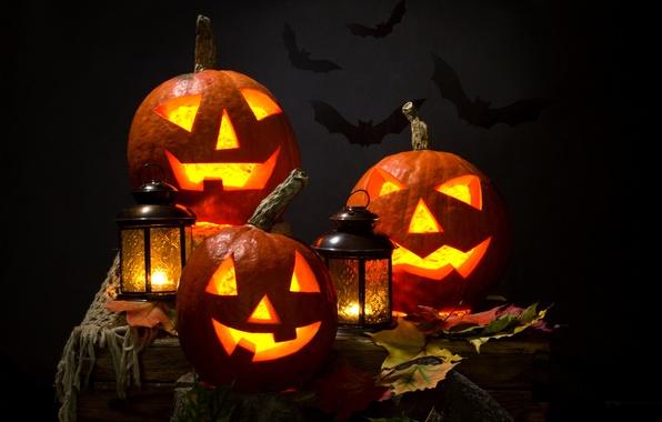 Картинка осень, листья, ночь, свечи, фонарь, Halloween, тыква, Хэллоуин, летучие мыши, smile, face, holiday, pumpkin