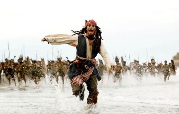 Картинка Johnny Depp, Море, Бег, Джек Воробей, Пираты Карибского моря, Аборигены