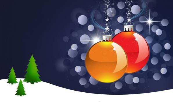 Картинка шарики, снег, шары, игрушки, звезда, елка, новый год, рождество, елочка, открытка