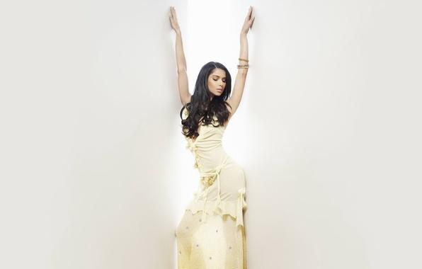 Картинка взгляд, девушка, поза, стены, волосы, руки, платье, Roselyn Sanchez