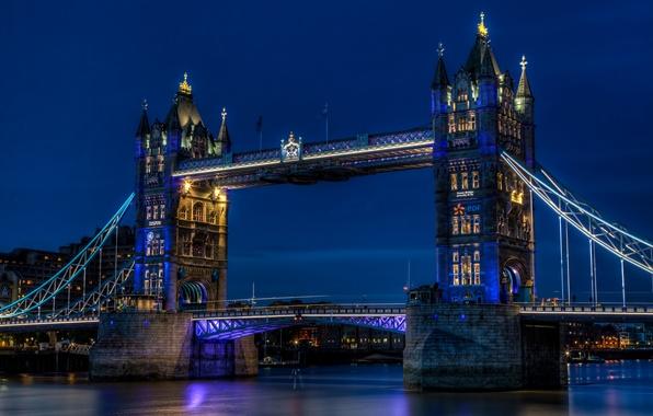 Картинка небо, ночь, city, город, огни, река, Англия, Лондон, освещение, подсветка, Великобритания, Темза, синее, Тауэрский мост, …