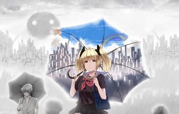 Картинка небо, девушка, облака, город, люди, дождь, дома, радуга, зонт, аниме, арт, школьница, парень, сумка, hewsack