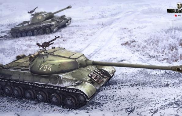 Картинка зима, поле, снег, рисунок, арт, танк, тяжелый, советский, World of Tanks, ис-3, Nikita Bolyakov