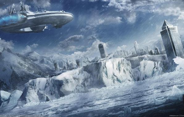 Картинка зима, море, снег, горы, город, корабль, арт, льдины, igor staritsin