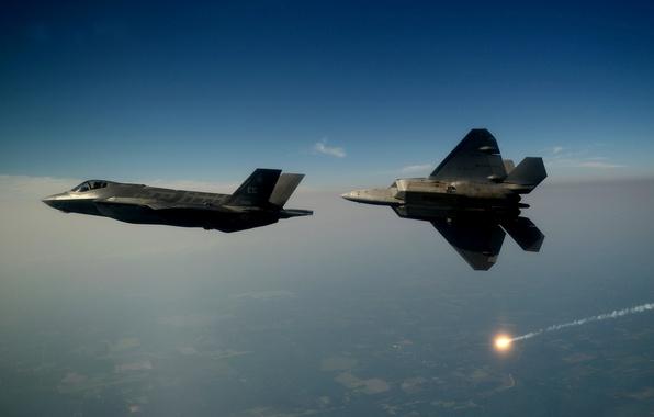 Картинка F-22, Raptor, ВВС США, Lightning II, F-35, В воздухе, Lockheed Martin, Два истребителя, Малозаметные, Истребитель ...