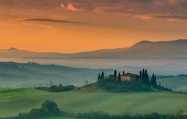 Картинка небо, деревья, дом, поля, Италия, усадьба, Тоскана