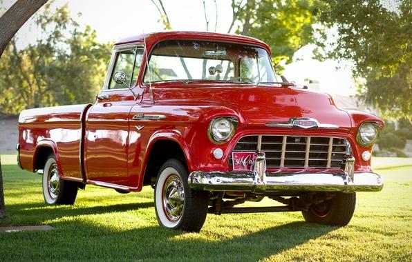 Картинка Chevrolet, классика, Chevy, передок, 1956, 3100