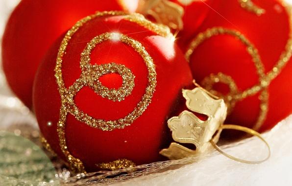 Картинка шарики, праздник, шары, узор, новый год, рождество, красные, золотой, christmas, new year, елочные игрушки