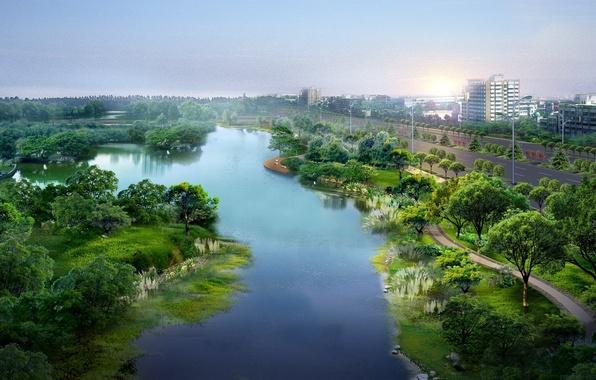 Картинка дорога, лето, город, парк, река