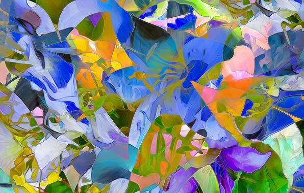 Картинка поле, линии, цветы, рендеринг, лепестки, луг