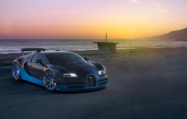 Картинка Закат, Море, Бугатти, Bugatti, Вейрон, Veyron, Суперкар, Supercar, Grand Sport, Vitesse