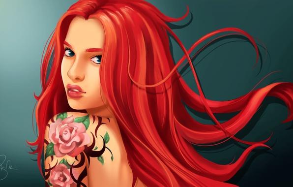 Арт девушка с красными волосами
