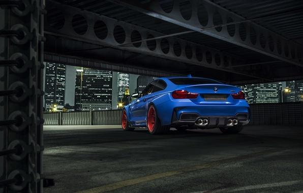 Картинка BMW, City, Blue, Vorsteiner, Wheels, Widebody, Rear, Photoshoot, Nigth, GTRS4