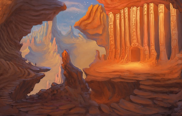 Картинка горы, птицы, человек, арт, путник, нарисованный пейзаж