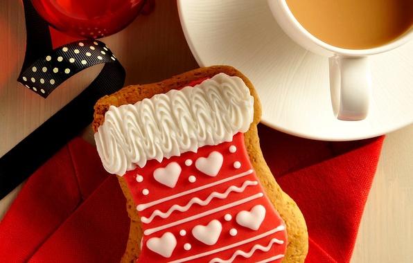 Картинка ленты, праздник, шар, кофе, еда, печенье, чашка, капучино, десерт, cup, Merry Christmas, holiday, coffee, ball, …