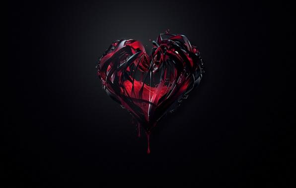 Картинка абстракция, фон, красное, сердце, краска, чёрное, минимализм