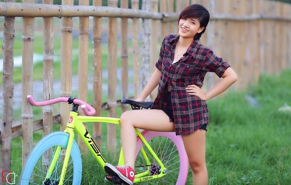 Картинка лето, девушка, велосипед, улыбка, азиатка