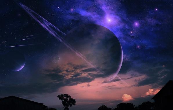 Картинка облака, пейзаж, ночь, туманность, дом, дерево, планеты, кольца, метеоры, звездное небо