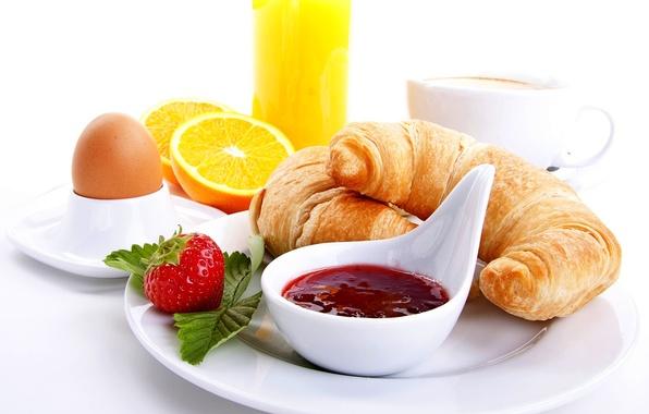 Картинка оранжевый, кофе, еда, завтрак, клубника, сок, чашка, juice, food, cup, orange, strawberry, coffee, круассаны, breakfast, …