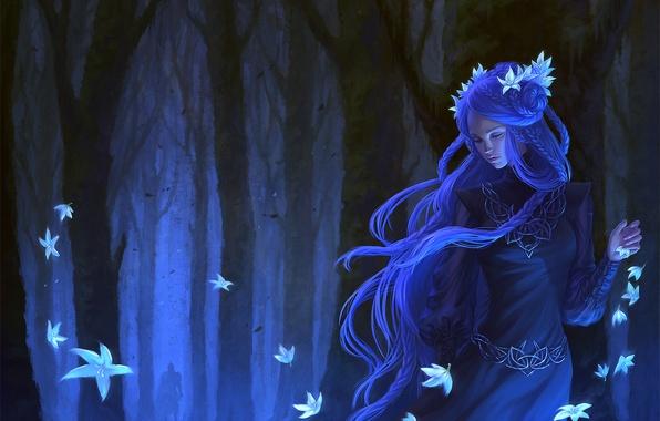 Картинка лес, девушка, деревья, цветы, платье, арт, косички, фэнтази, синие волосы