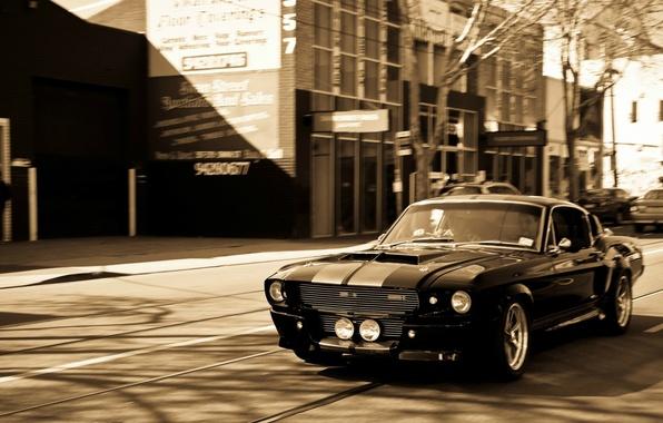 Обои Ford, black, Mustang GT 500, sepia, 1967 картинки на ...
