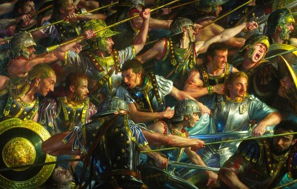 Картинка битва, щит, воины, латы