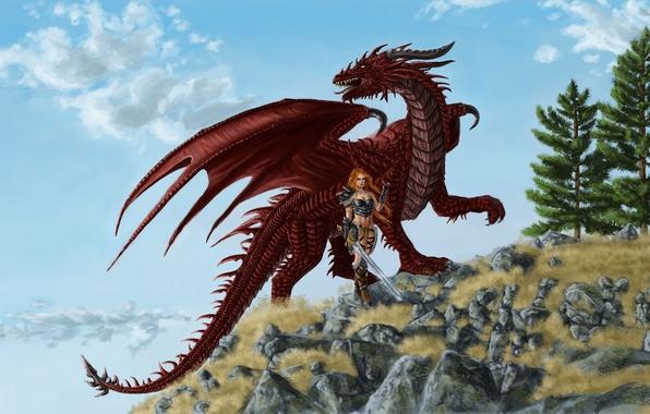 Картинка девушка, красный, фантастика, дракон, крылья, меч, доспехи, арт, хвост, рога