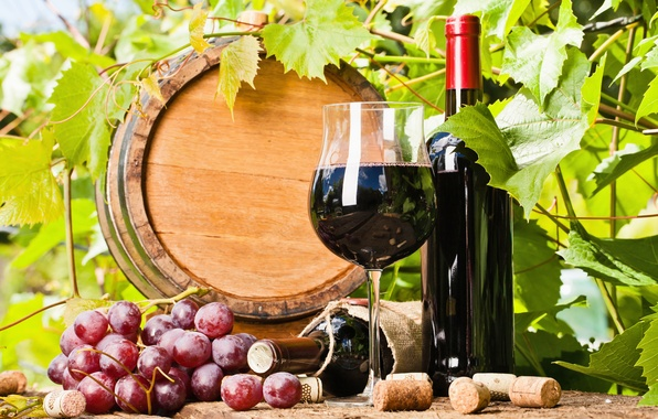 Картинка листья, вино, виноград, пробки, бочка