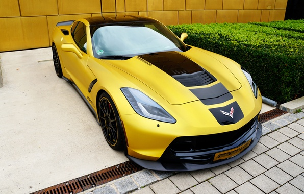 Картинка желтый, тюнинг, Corvette, Chevrolet, Stingray
