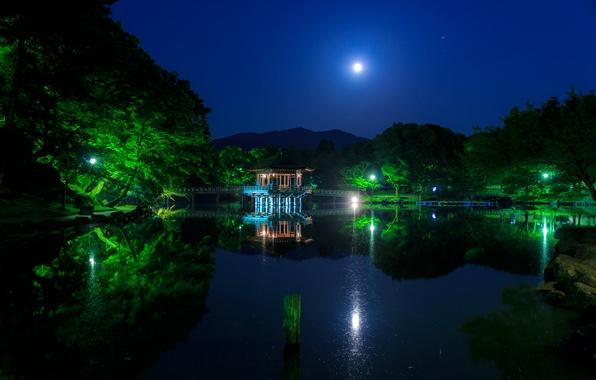 Картинка небо, вода, деревья, ночь, мост, огни, пруд, парк, отражение, луна, Япония, фонари, пагода, Ukimido