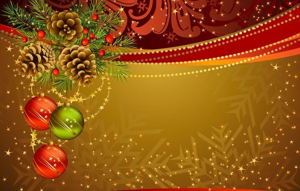 Картинка праздник, игрушки, новый год, ель, вектор, декорации, шишки, happy new year, christmas decoration, новогодние обои, ...