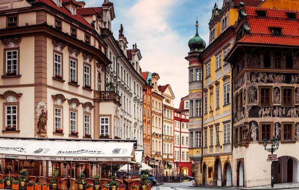 Картинка город, улица, здания, дома, Прага, Чехия, кафе, архитектура, Prague, Czech, Praha
