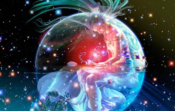 Картинка девушка, космос, ночь, сияние, огонь, звёзды, фэнтези, Земля, space, fantasy, Скорпион, созвездие, Earth, stars, scorpion, …