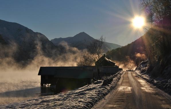 Картинка дорога, пейзаж, горы, озеро, утро