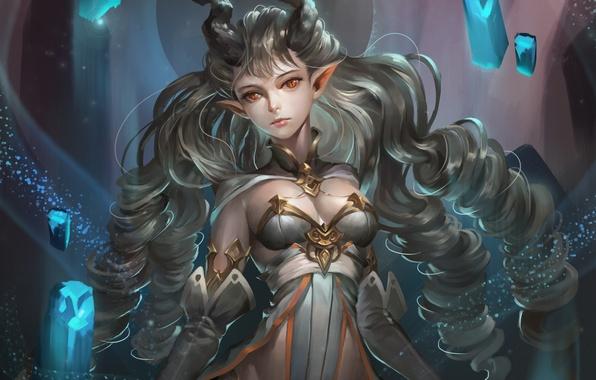 Картинка девушка, демон, арт, рога, фентази