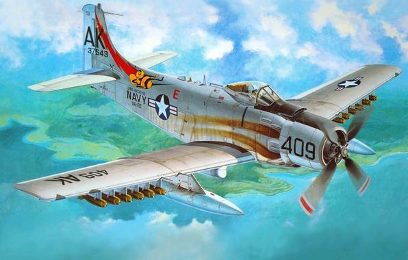 Картинка самолет, арт, США, штурмовик, американский, ВВС, Douglas, ВМС, века, поршневой, вооружении, состоял, войнах., четверть, применялся, …