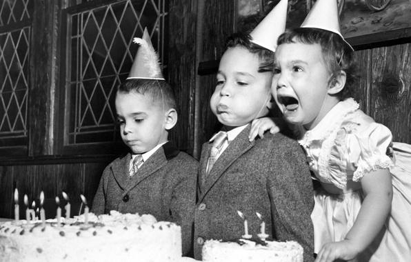 Картинка дети, эмоции, день рождения, торт
