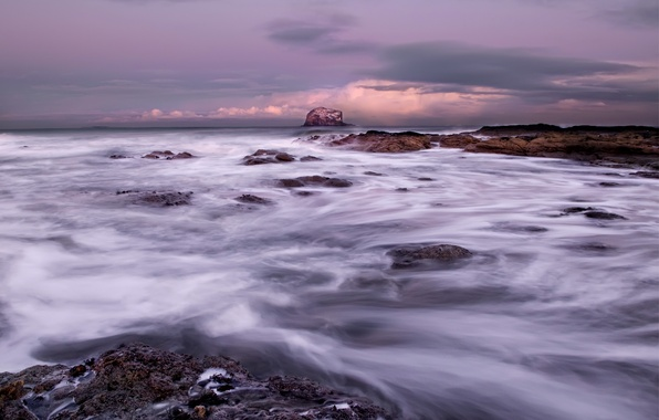 Картинка небо, тучи, камни, океан, берег, Море, прибой, серое