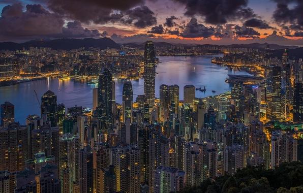 Картинка небо, облака, город, Гонконг, утро, Китай, Hong Kong, КНР