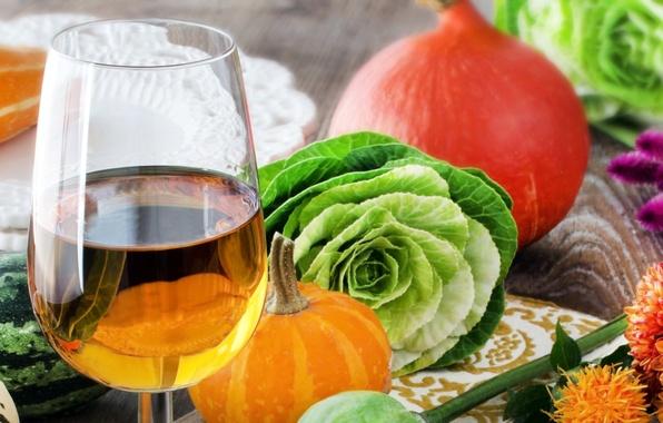 Картинка осень, вино, белое, бокал, урожай, тыква, овощи, капуста